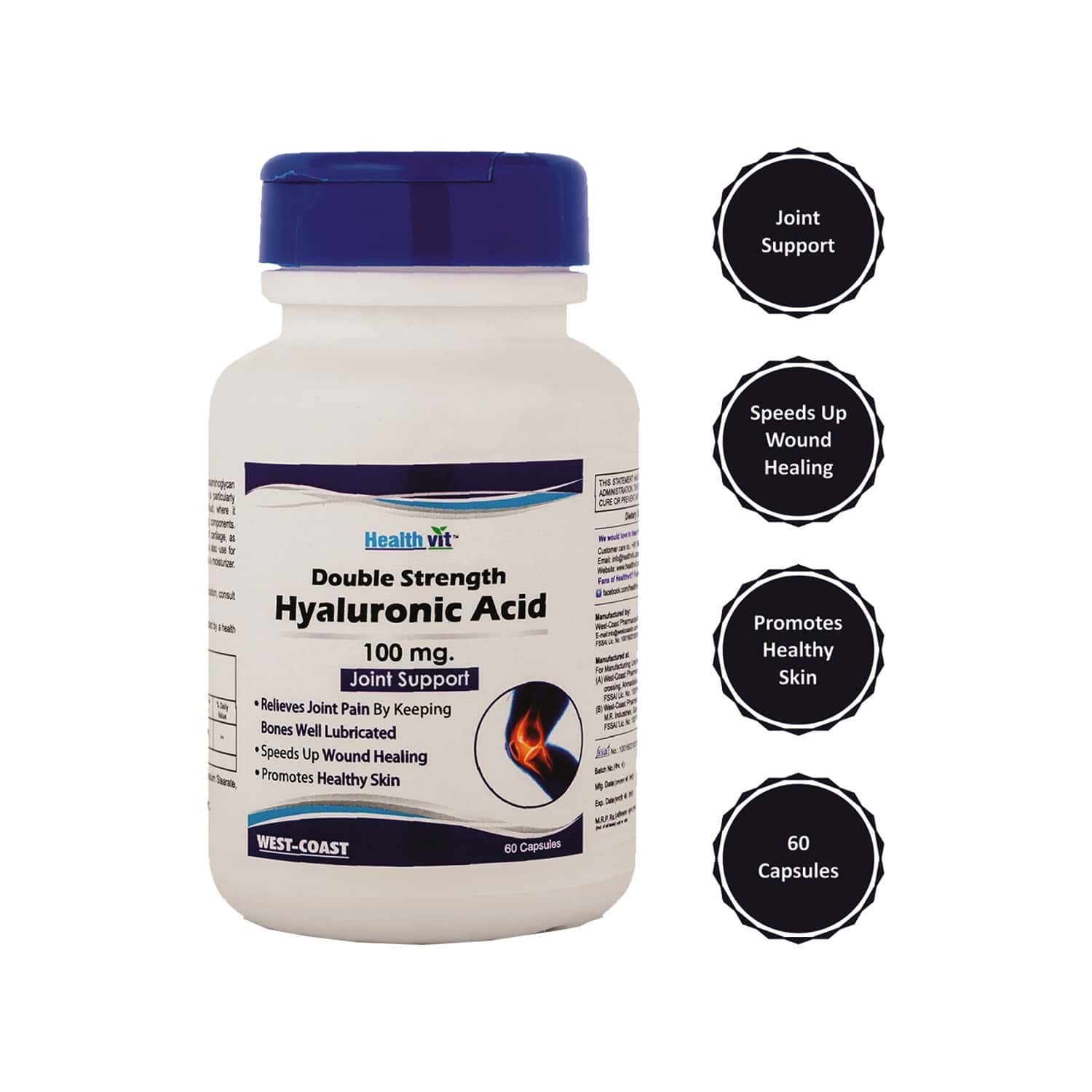 Healthvit Double Strength Hyaluronic Acid 100 Mg, Support Healthy Connective Tissue And Joints - Promote Youthful Healthy Skin - 60 Capsules