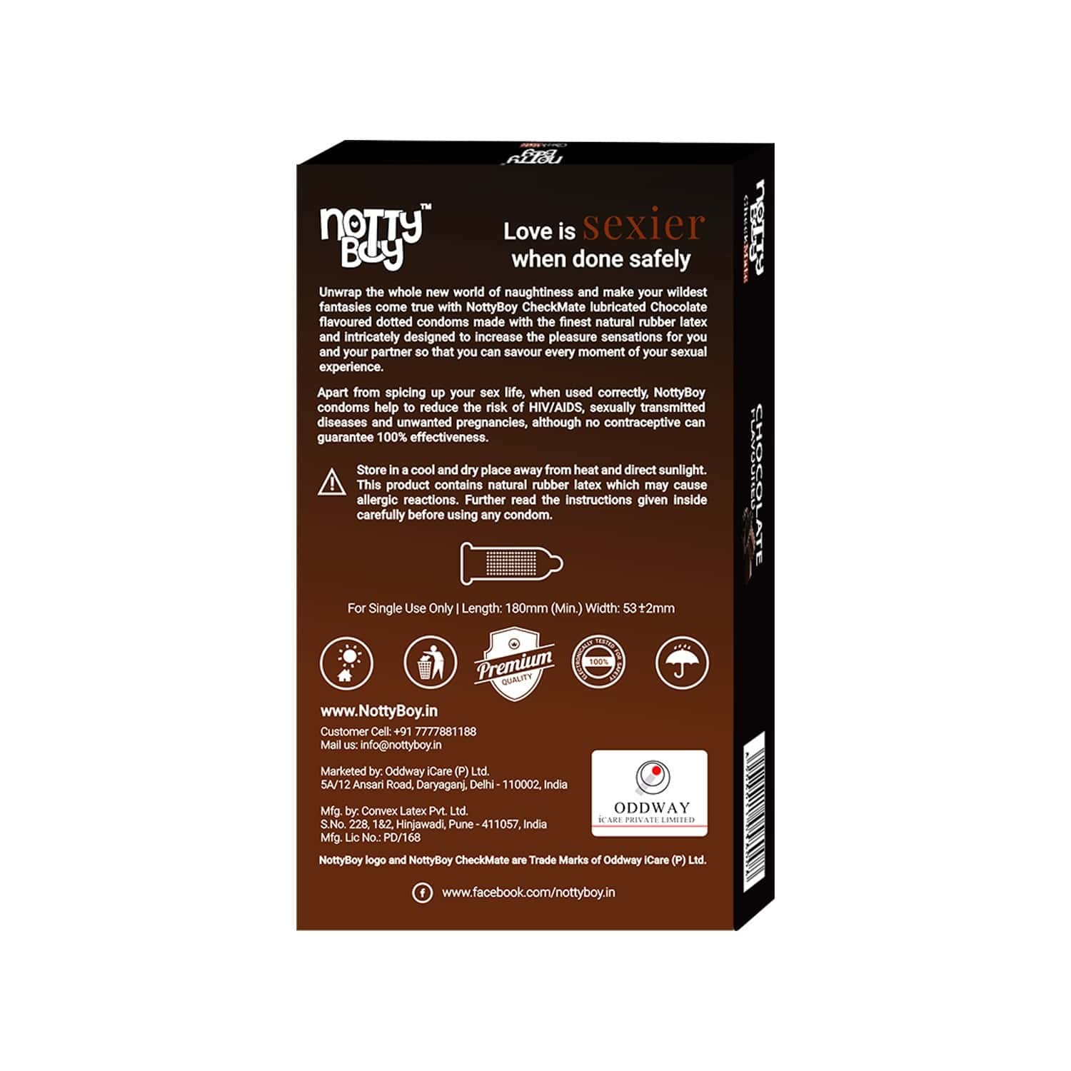 Nottyboy Chocolate Flavour Checkmate Condoms - 10s