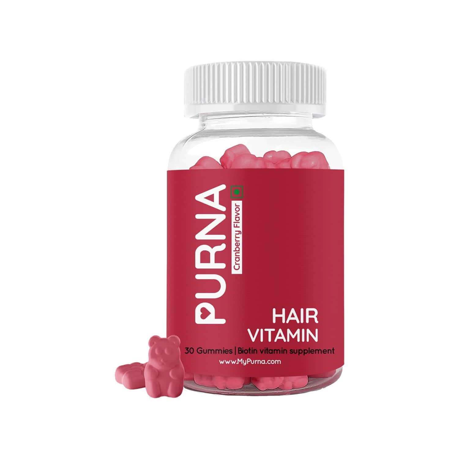 Purna Gummies Strong Flowing Hair Biotin Cranberry Gummies - 30
