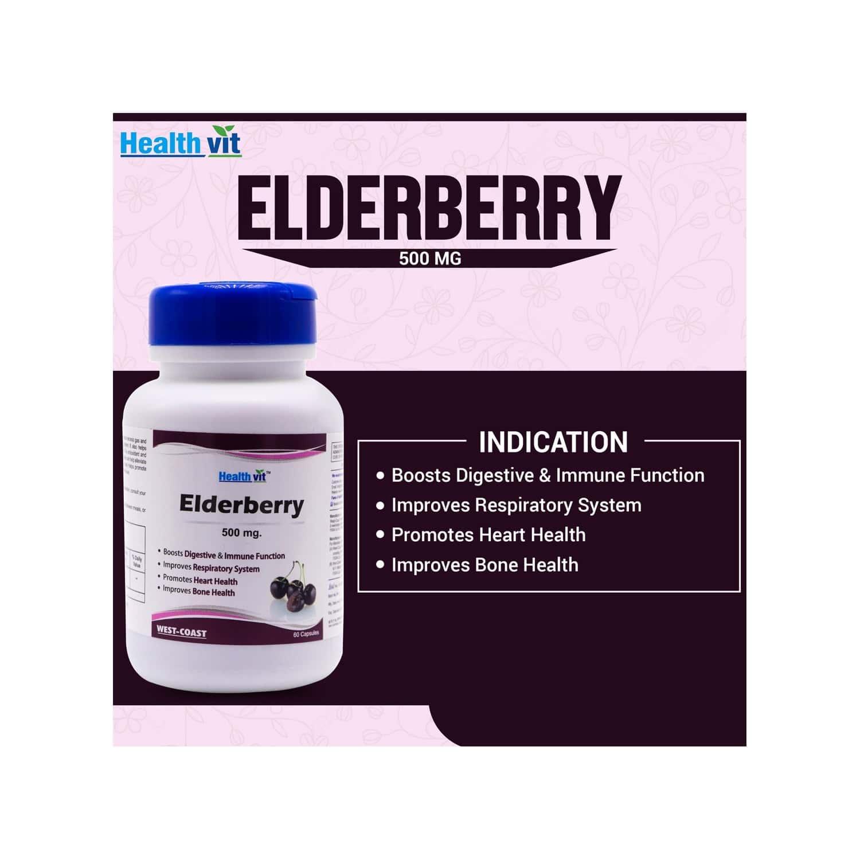 Healthvit Elderberry 500 Mg - 60 Capsules