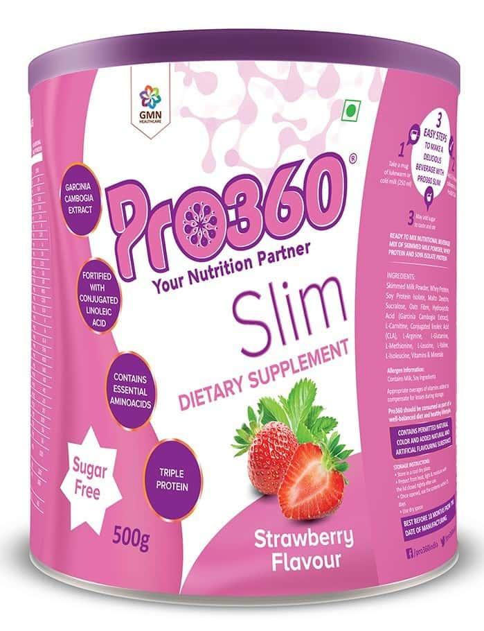 Pro360 Slim Strawberry Nutritional Supplement Powder Tin Of 500 G