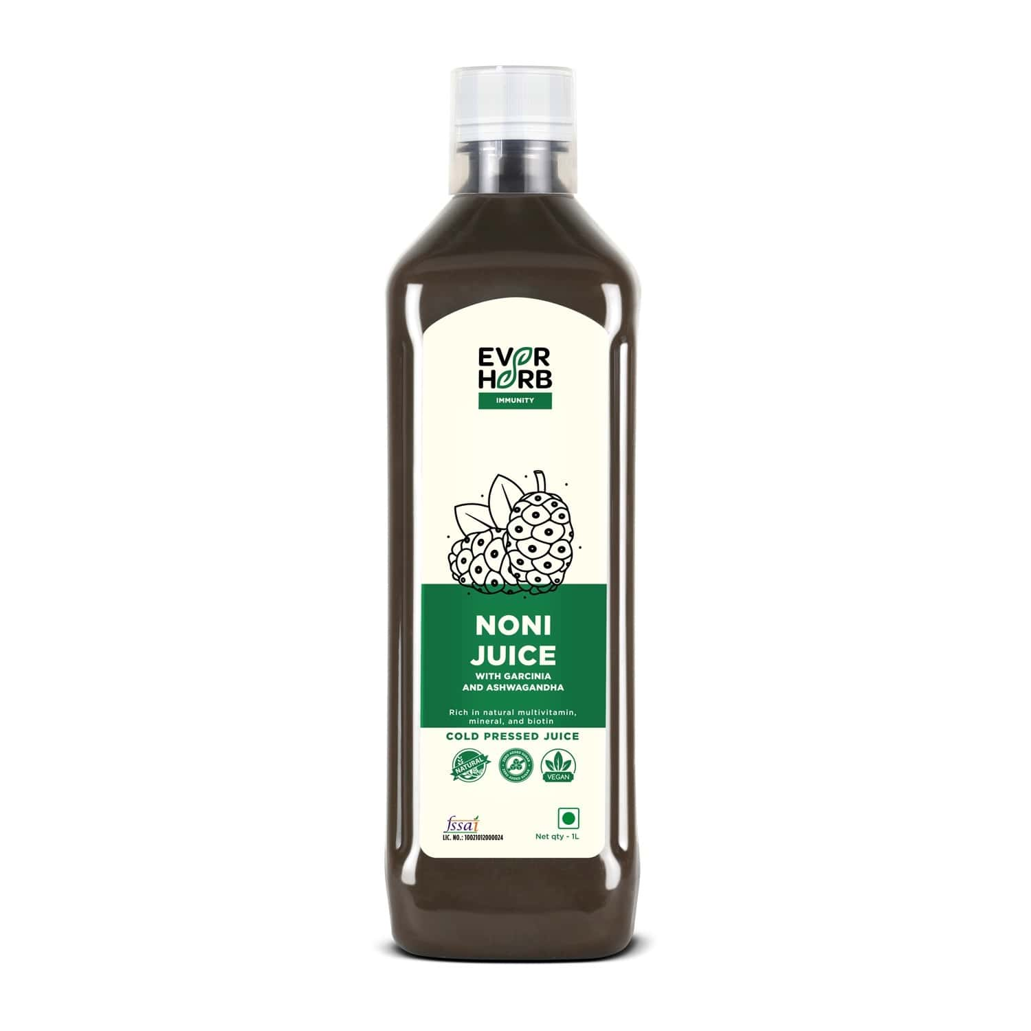 Everherb Noni Juice With Garcinia& Ashwagandha-powerfull Immunity Booster & Detoxify Your Lungs - 1l