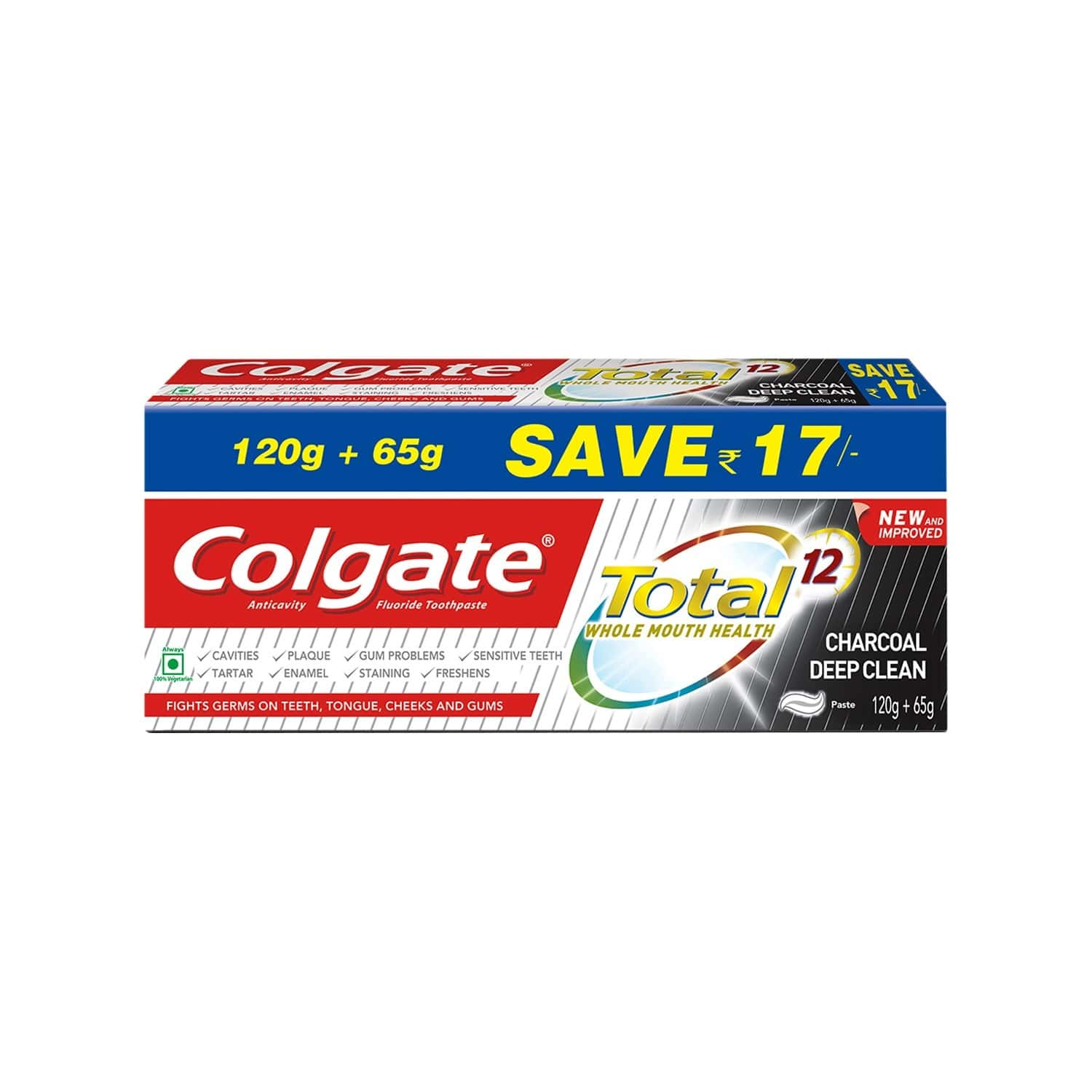 Colgate Total Whole Mouth Health, Antibacterial Toothpaste - 185g (charcoal Deep Clean, Saver Pack)