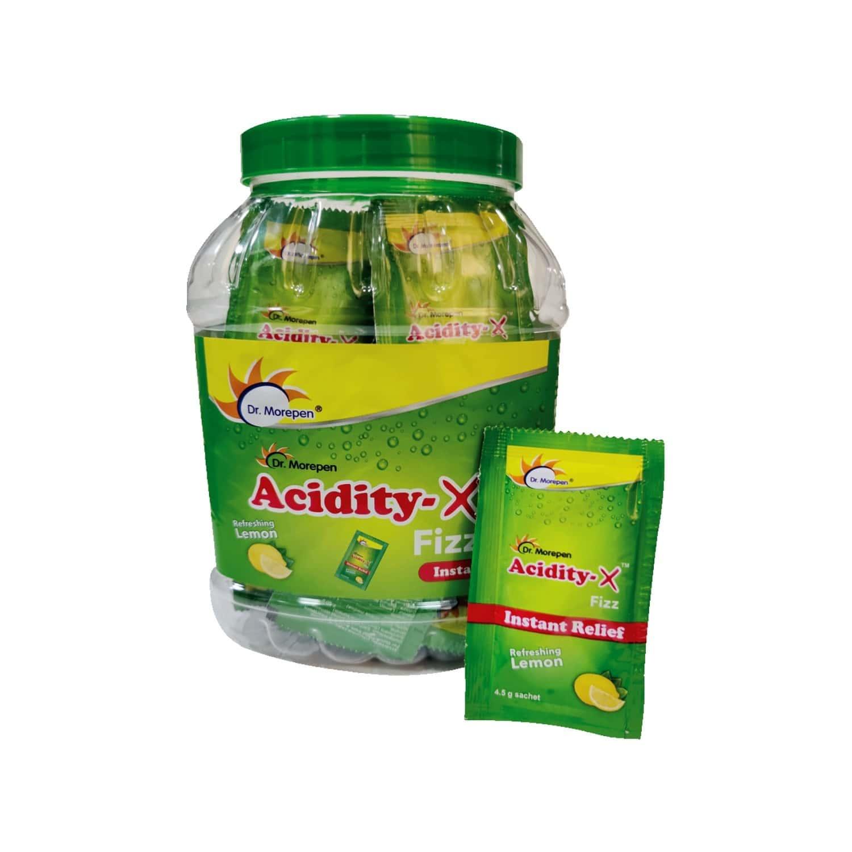 Dr. Morepen Acidity-x Fizz Fruit Salt 4.5gm Pack 50 Sachet, Acidity Relief