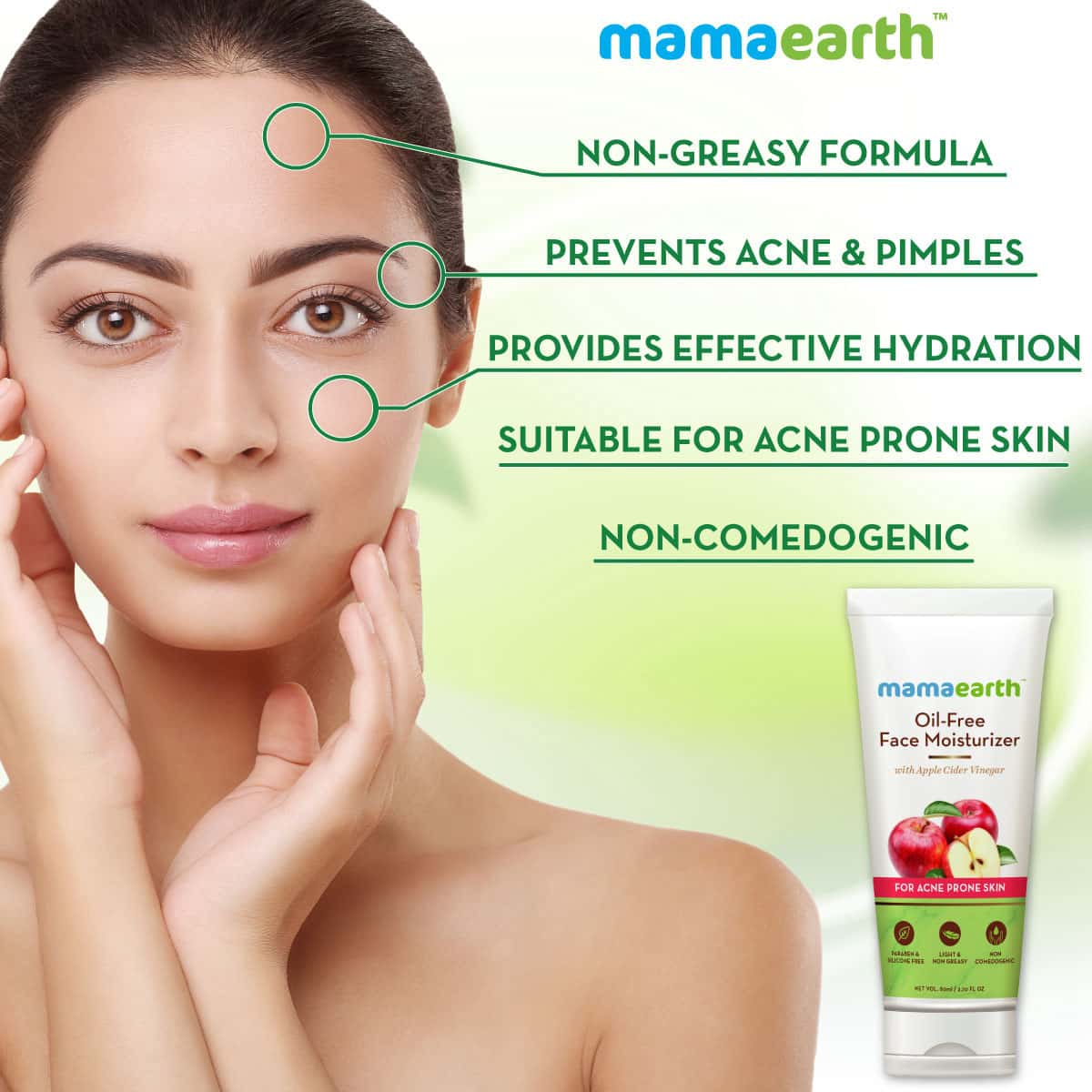 Mamaearth Oil Free Moisturizer For Face With Apple Cider Vinegar For Acne Prone Skin - 80ml