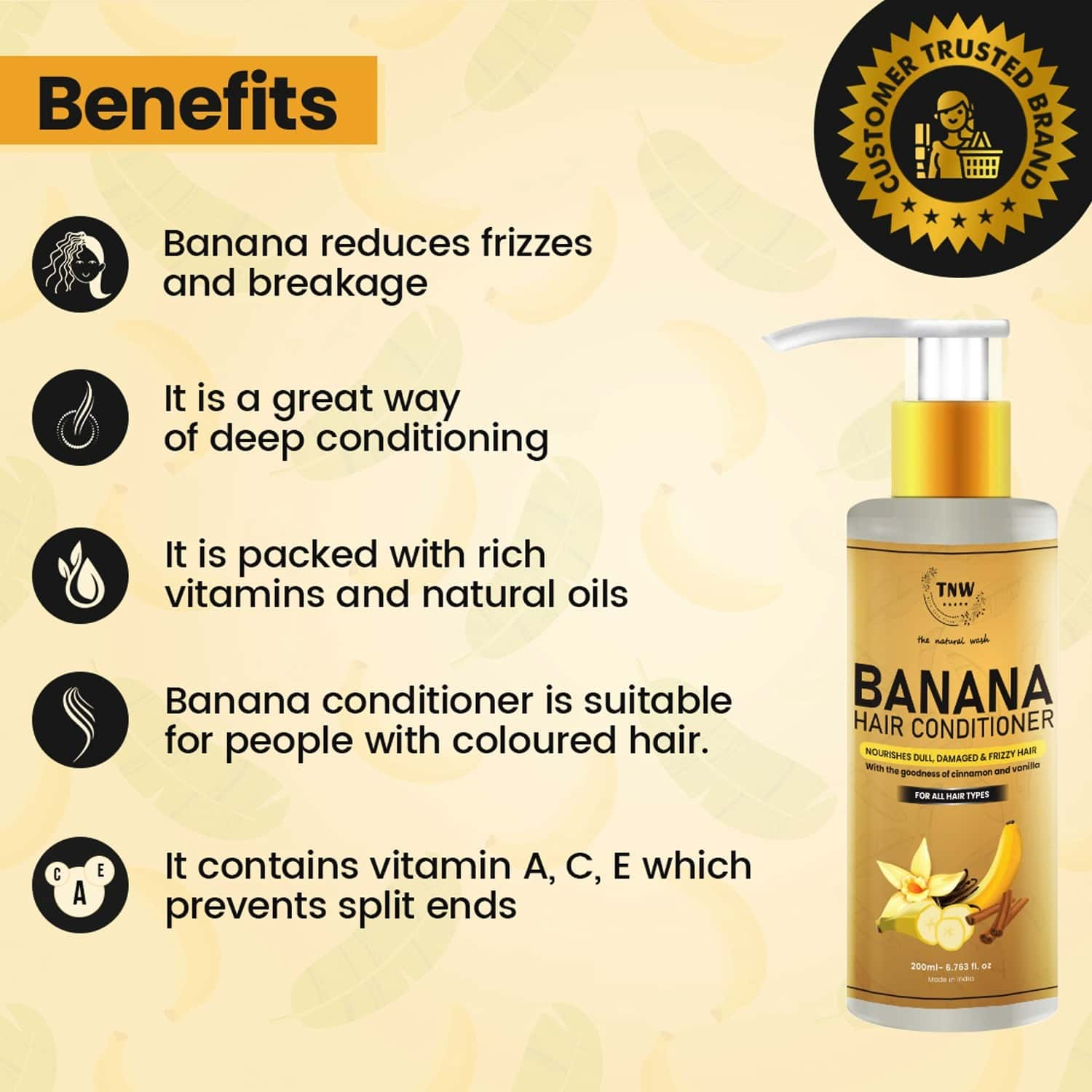 Tnw -the Natural Wash Banana Hair Conditioner For Damaged & Frizzy Hair - 200 Ml
