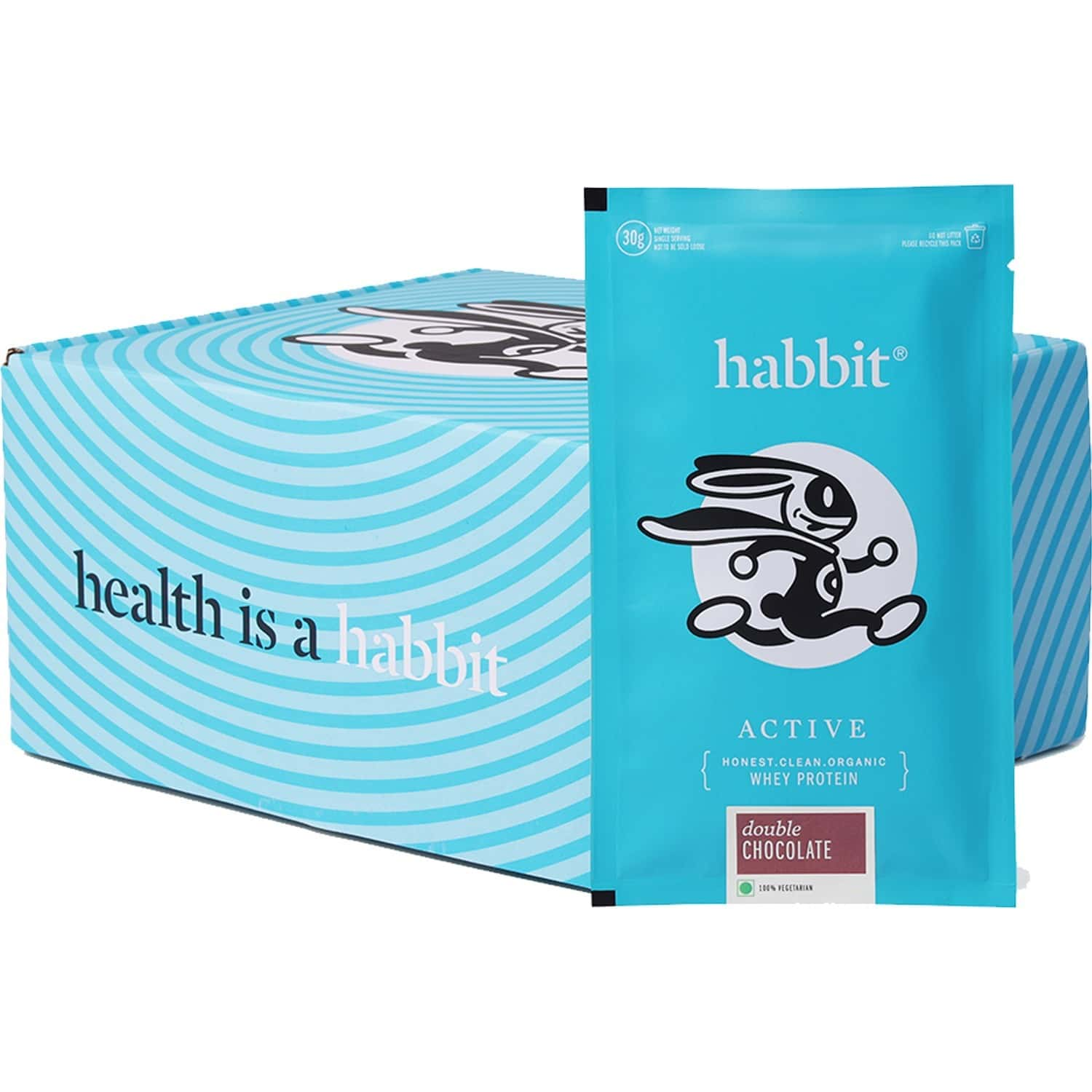 Habbit Active Whey Blend Protein Powder - 210 Gms, 7 Servings   Double Chocolate Flavour