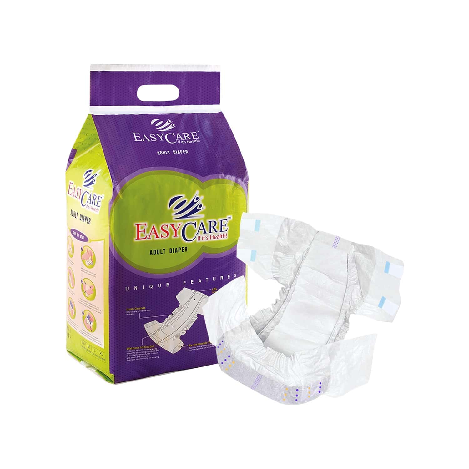 Easycare Adult Diaper - Pack Of 10 Soft & Comfort With Double Leakage Parrier (127 X 165 Cm) Size- Xl