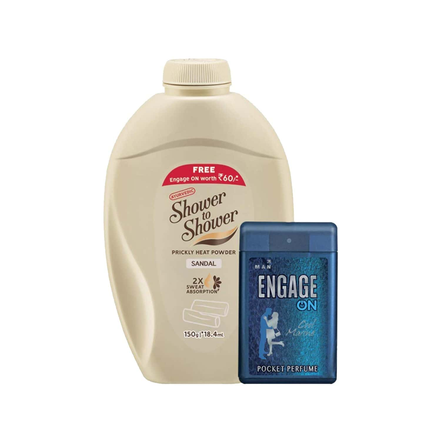 Shower To Shower Talcum Powder Bottle Of 150 G With 18.4ml Engage Free