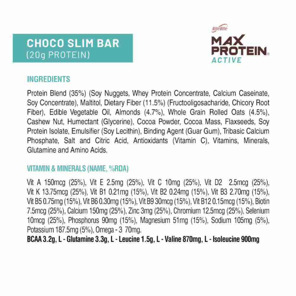 Ritebite Max Protein Active Choco Slim Nutrition Bar Packet Of 67 G