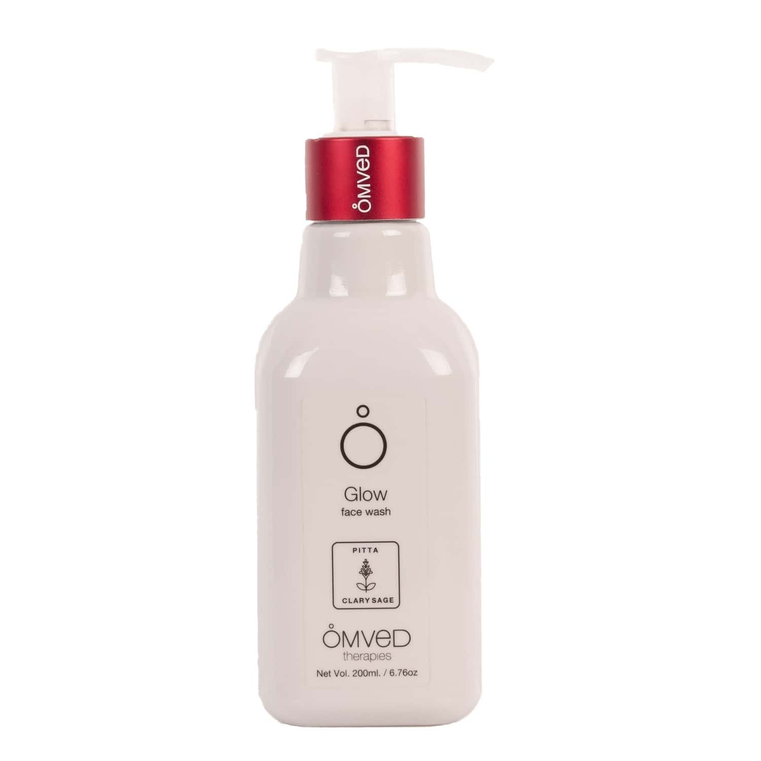 Omved Glow Face Wash For Skin Lightening With Clary Sage, Tulsi, Shikakai, And Wheat Protein, Sls, Parabeen Free-200 Ml
