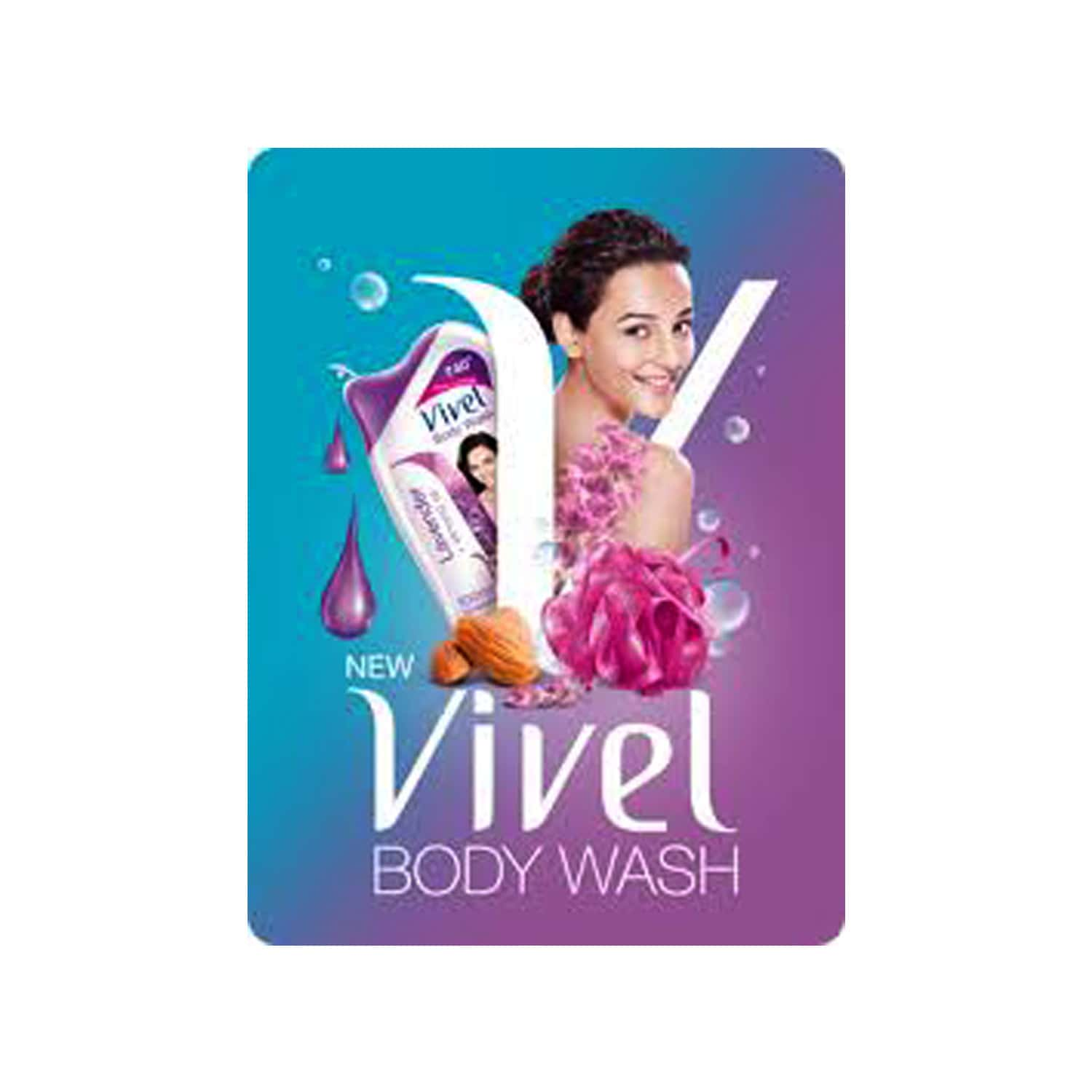 Vivel Mint And Cucumber Body Wash  Bottle Of 200 Ml With Free Vivel Loofah