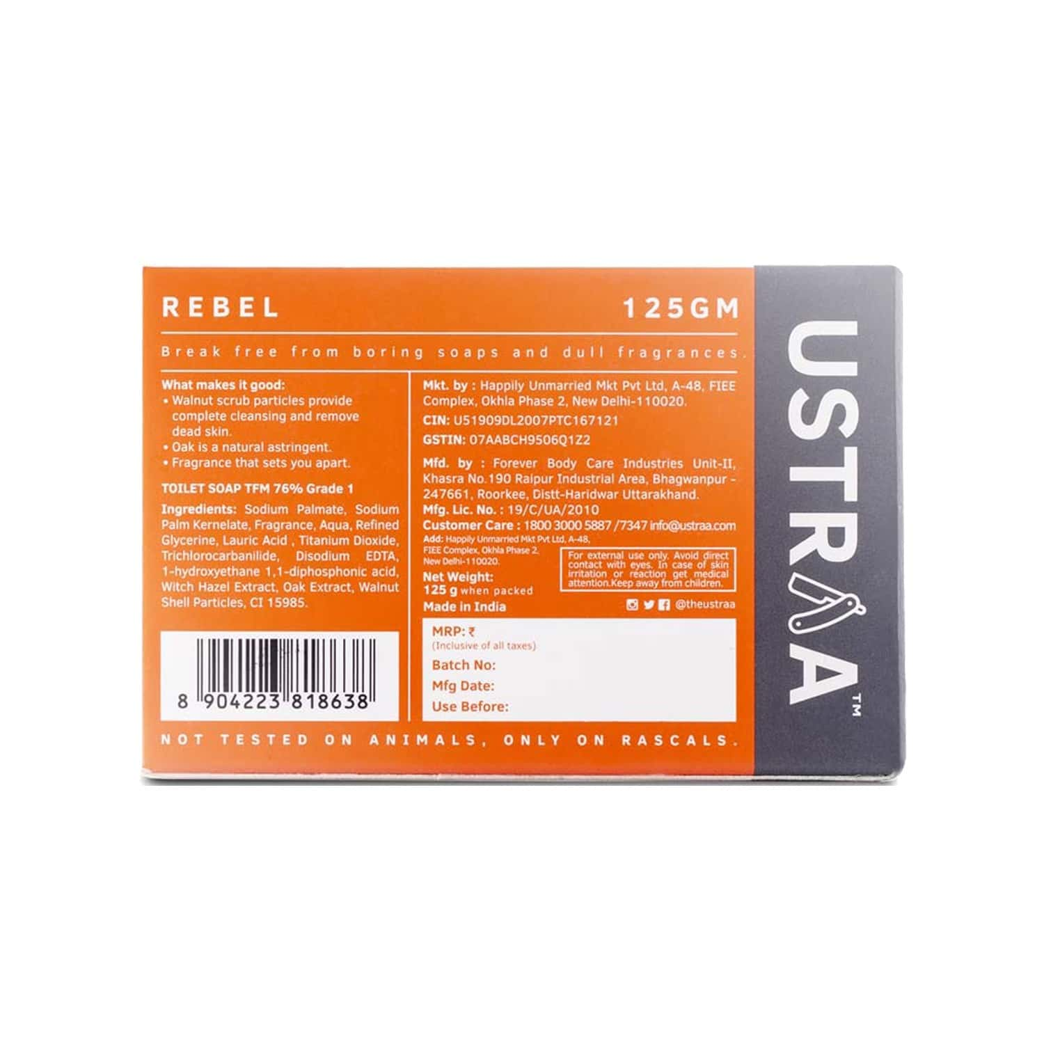 Ustraa Cologne Soap - Rebel - 125 Gm ( Pack Of 3)