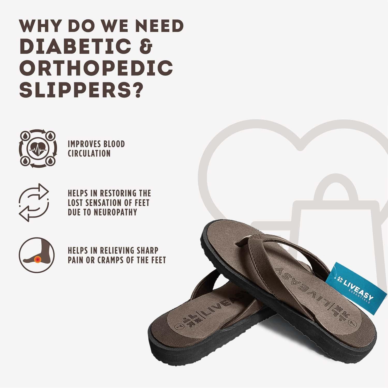 Liveasy Essentials Women's Diabetic & Orthopedic Slippers - Brown - Size Uk 7 / Us 10