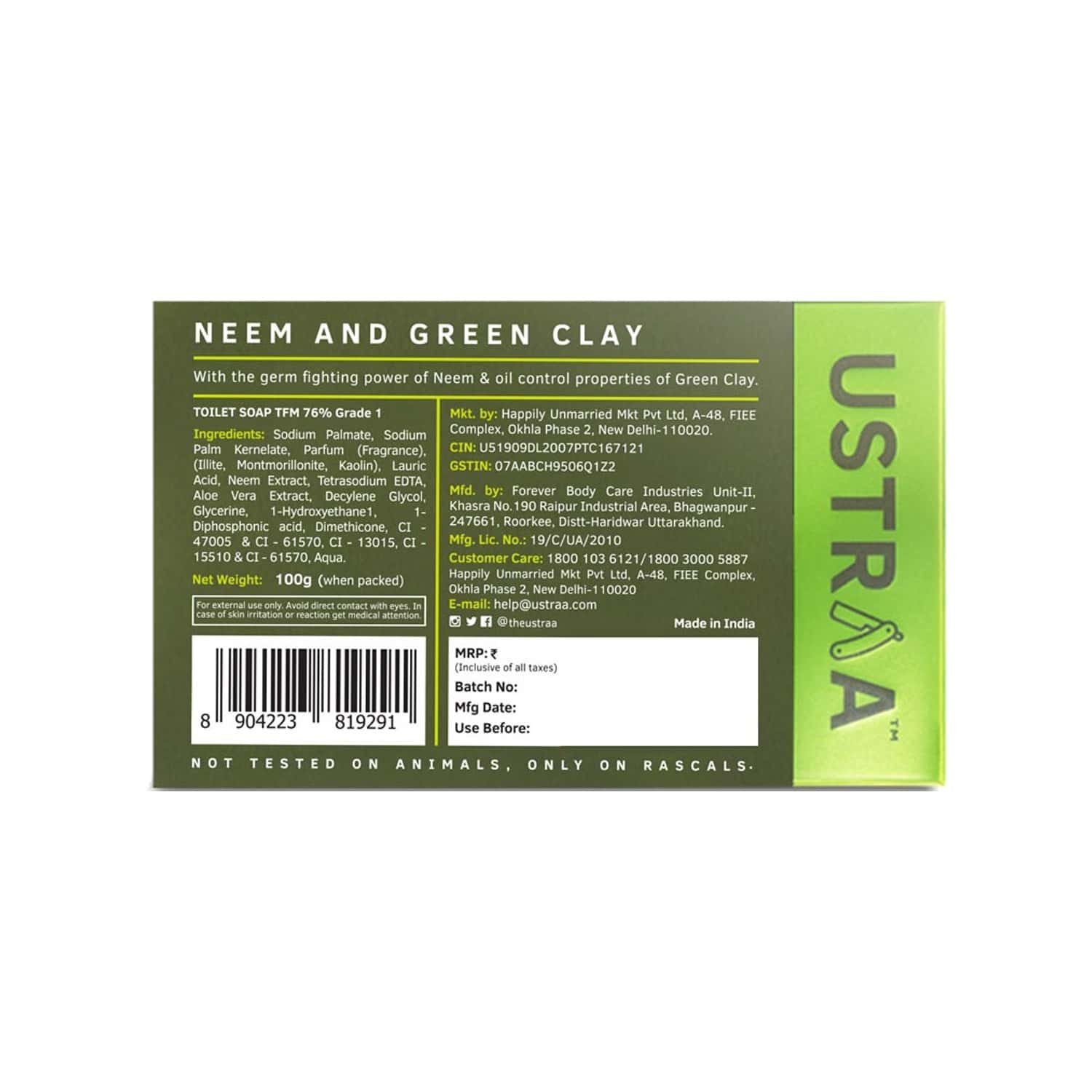 Ustraa Soap - Neem & Green Clay - 100 Gm (pack Of 8)