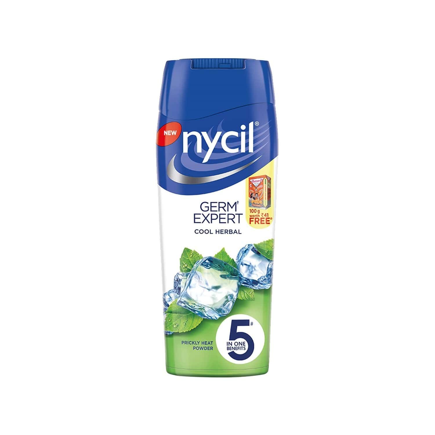 Nycil Cool Herbal Neem & Pudina Prickly Heat Powder  Bottle Of 150 G (free Glucon-d Orange 100gm Worth Rs 41)