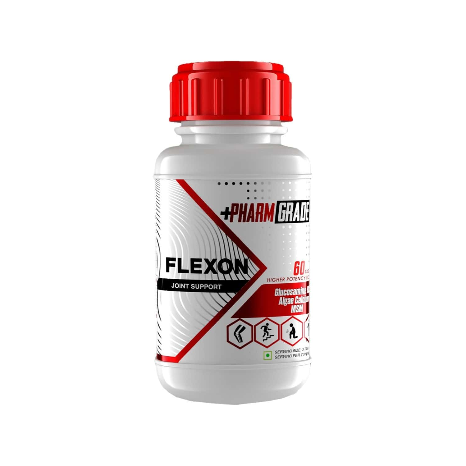 Pharmgrade Flexon Joint Support Supplement With Glucosamine Hcl, Sodium Hyaluronate, Algea Calcium - 60 Tablets