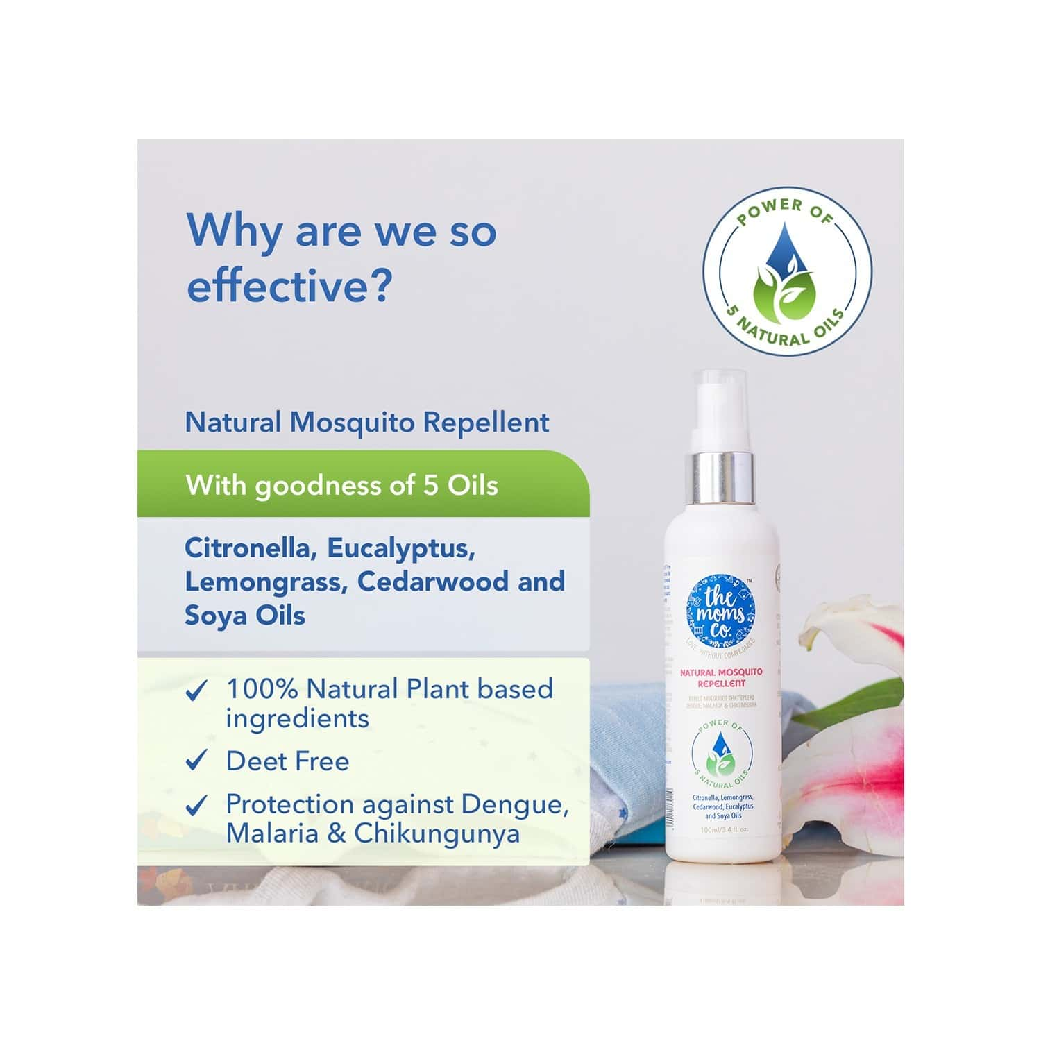 The Moms Co. Natural Mosquito Repellent -100 Ml