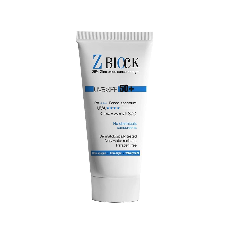 Z-block 25% Zinc Oxide Sunscreen Gel, Spf 50+ - 50 Ml