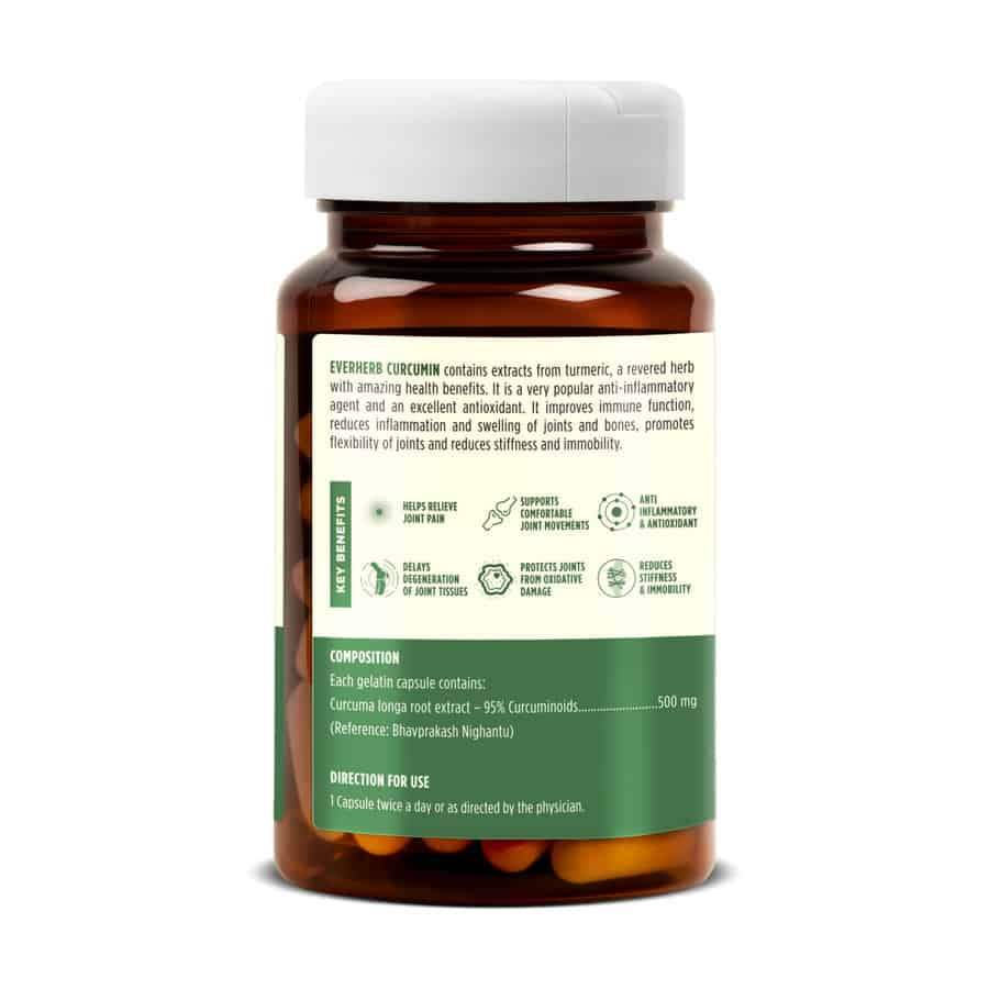 Everherb Curcumin ( Haldi ) - Pure Extracts With 95% Curcuminoids - Powerful Immunity Booster Relieves Joint Pain - Us Fda Approved - 60 Caps