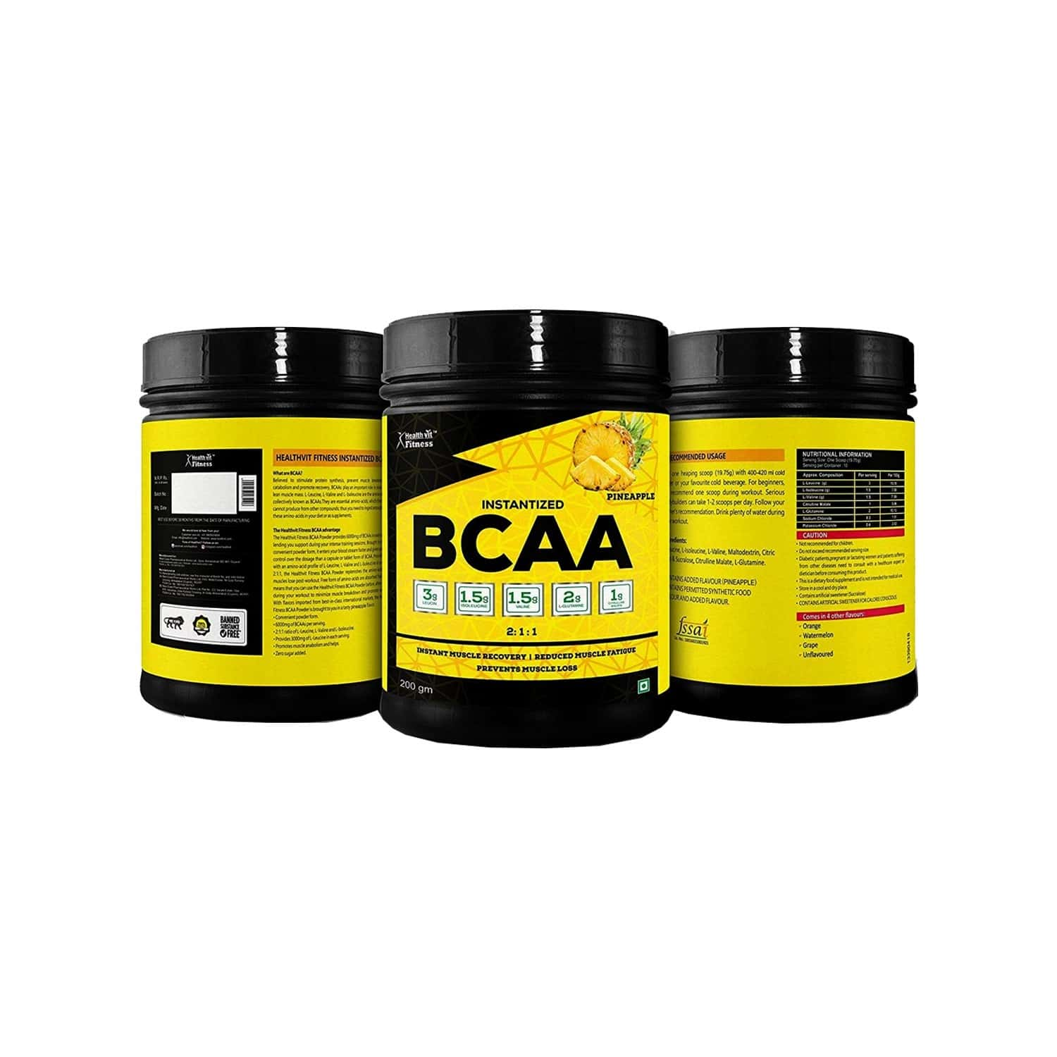 Healthvit Fitness Bcaa 6000mg 2:1:1 Powder With L-glutamine & L-citrulline Malate, (10 Servings) Pineapple Flavour - 200g