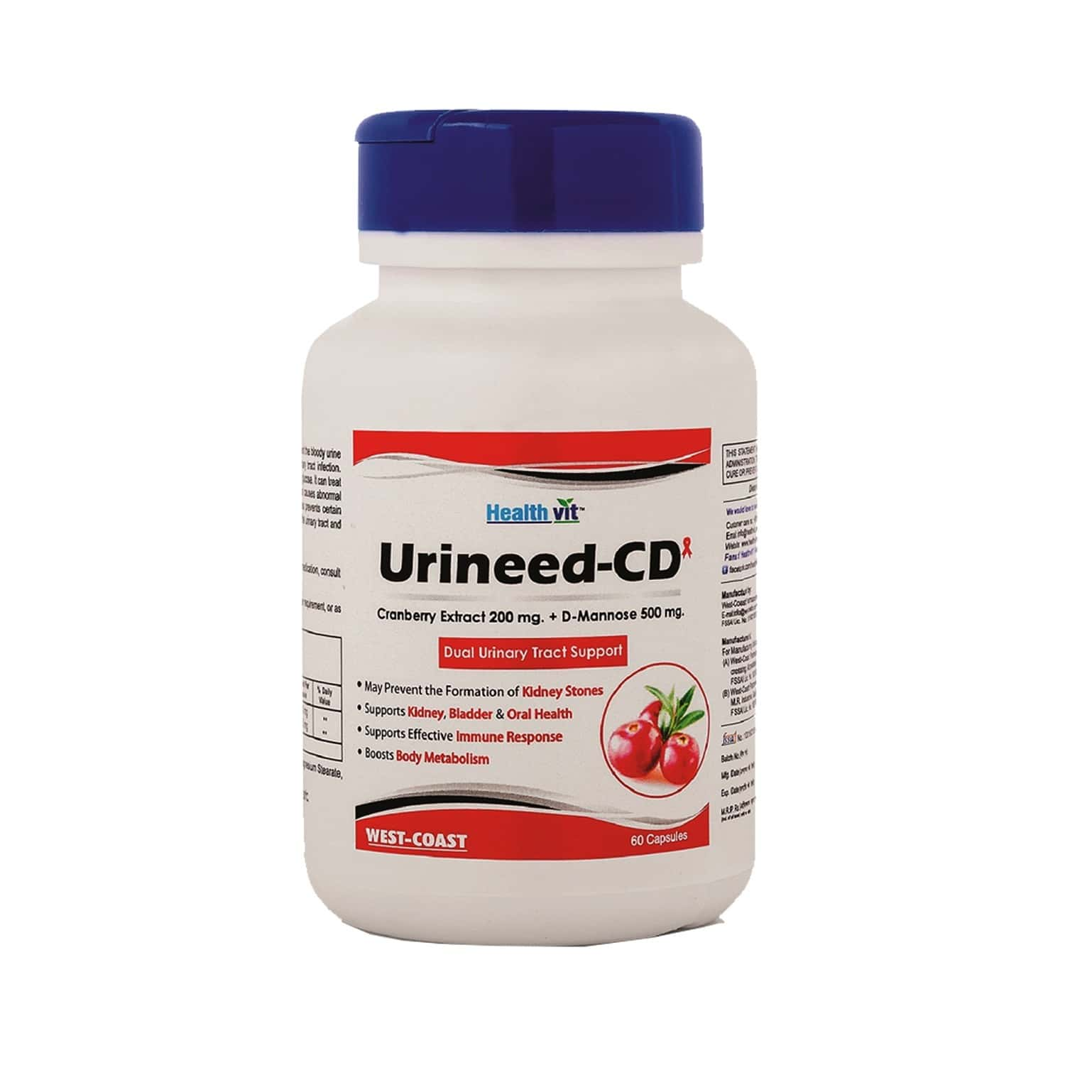 Healthvit Urineed-cd ( 4cranberry Extract 200 Mg. D-mannose 500 Mg ) - 60 Capsules
