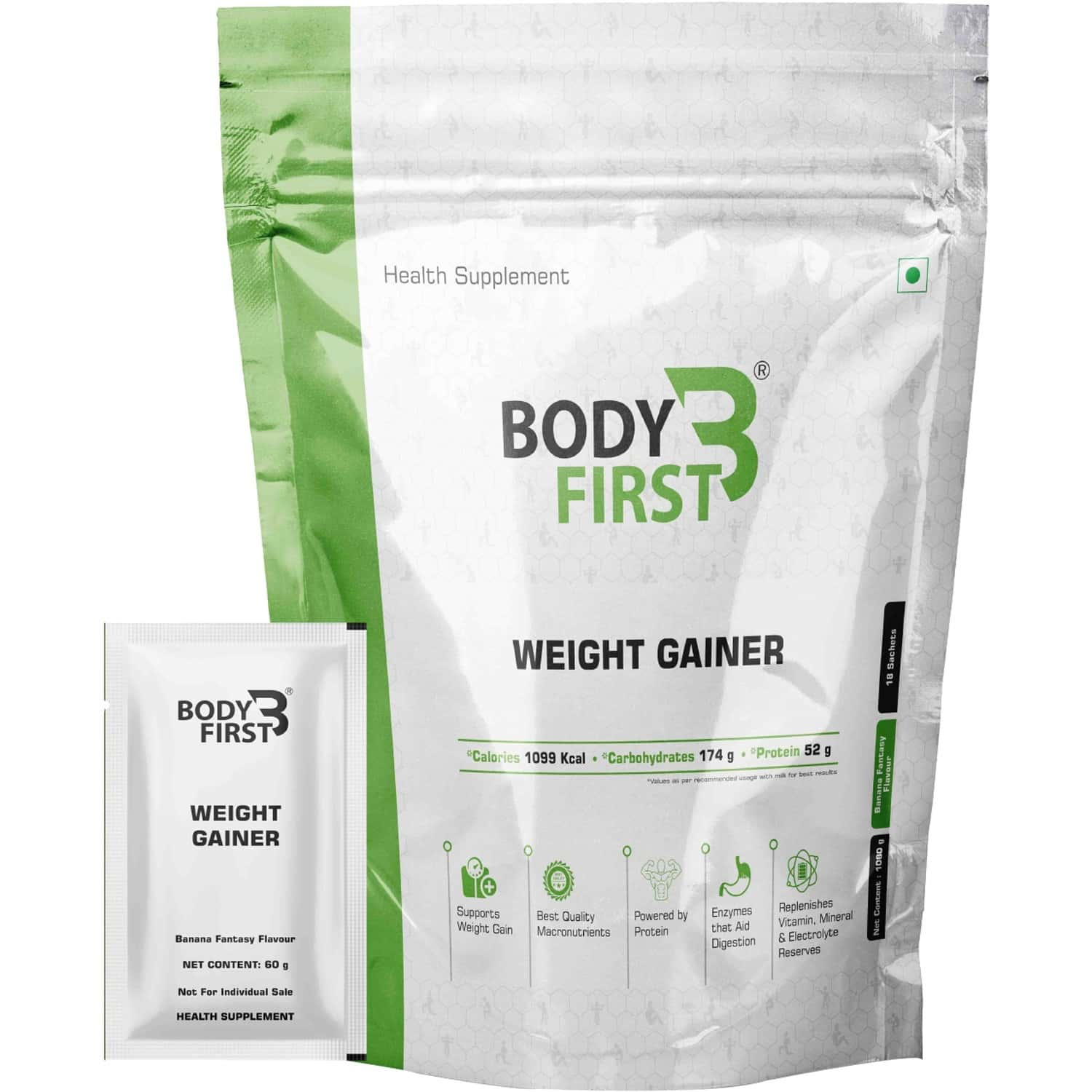 Bodyfirst Weight Gainer With Multi Vitamins And Minerals Banana Fantas