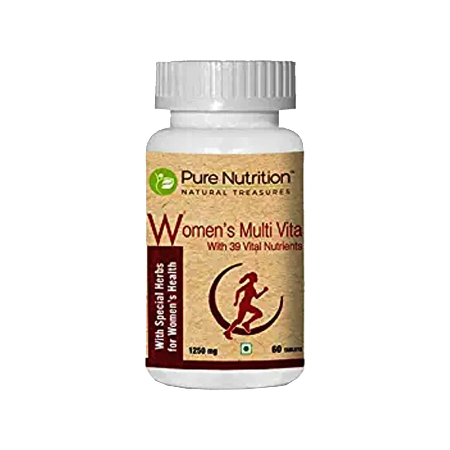 Pure Nutrition Womens Multi Vita, Fortified With 30 Bioactive Vital Nutrients With Ginseng Extracts, Omega 3 And Multiminerals - 60 Tablets