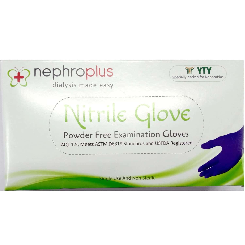 Nephroplus Nitrile Powder-free Examination Hand Gloves - Box Of 100 Pairs (m Size)