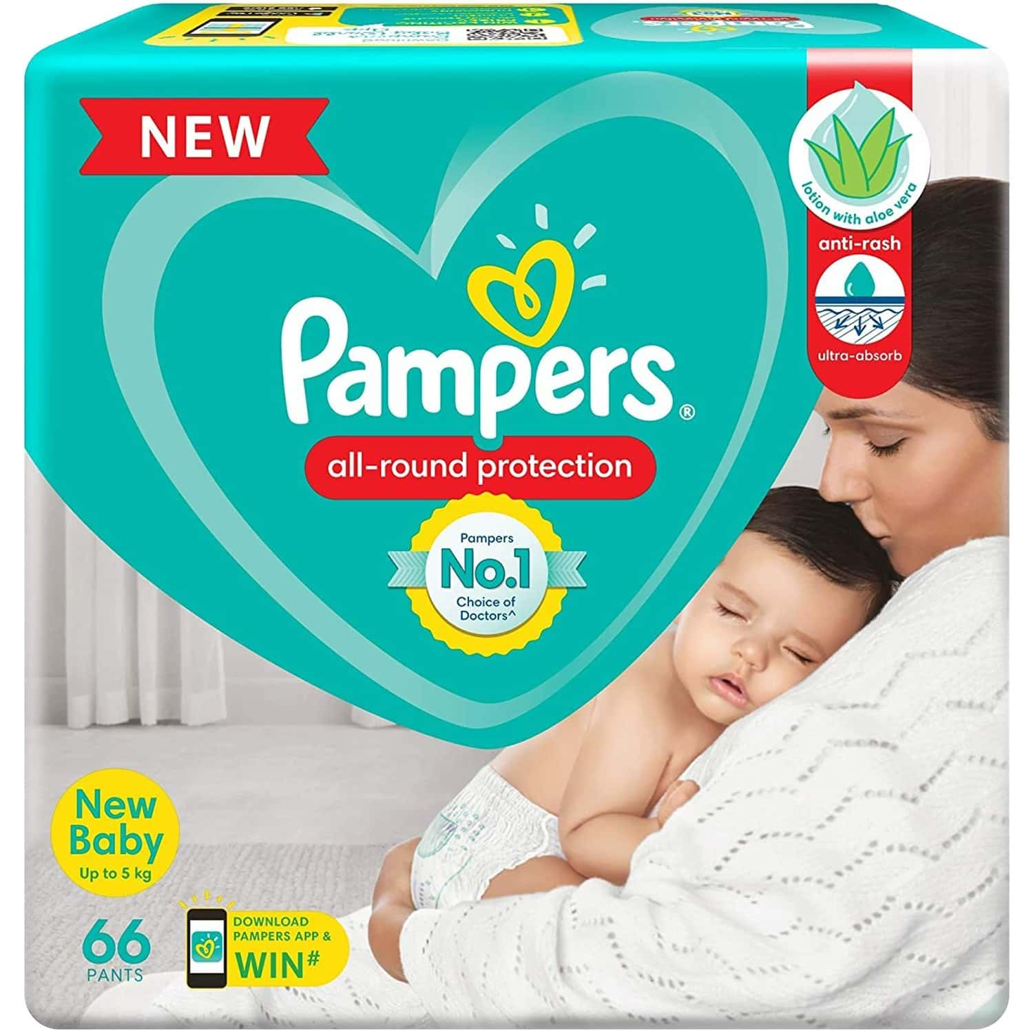 Pampers New Diapers Pants, New Born - 66 Count