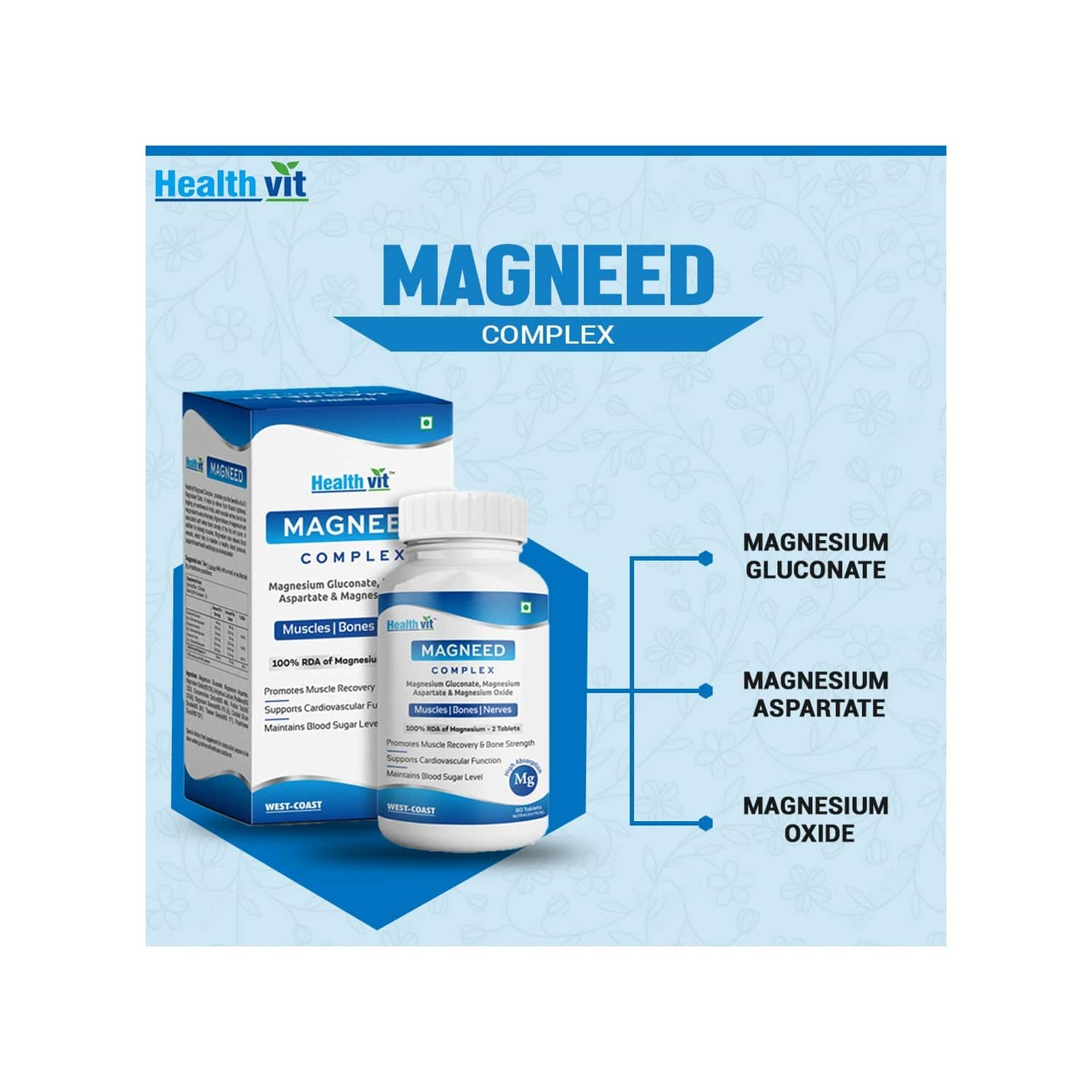 Healthvit Magneed Complex Magnesium Relax Supplement For Relaxing Body Muscles, Smooth Blood Flow, Healthy Digestive System - 60 Tablets