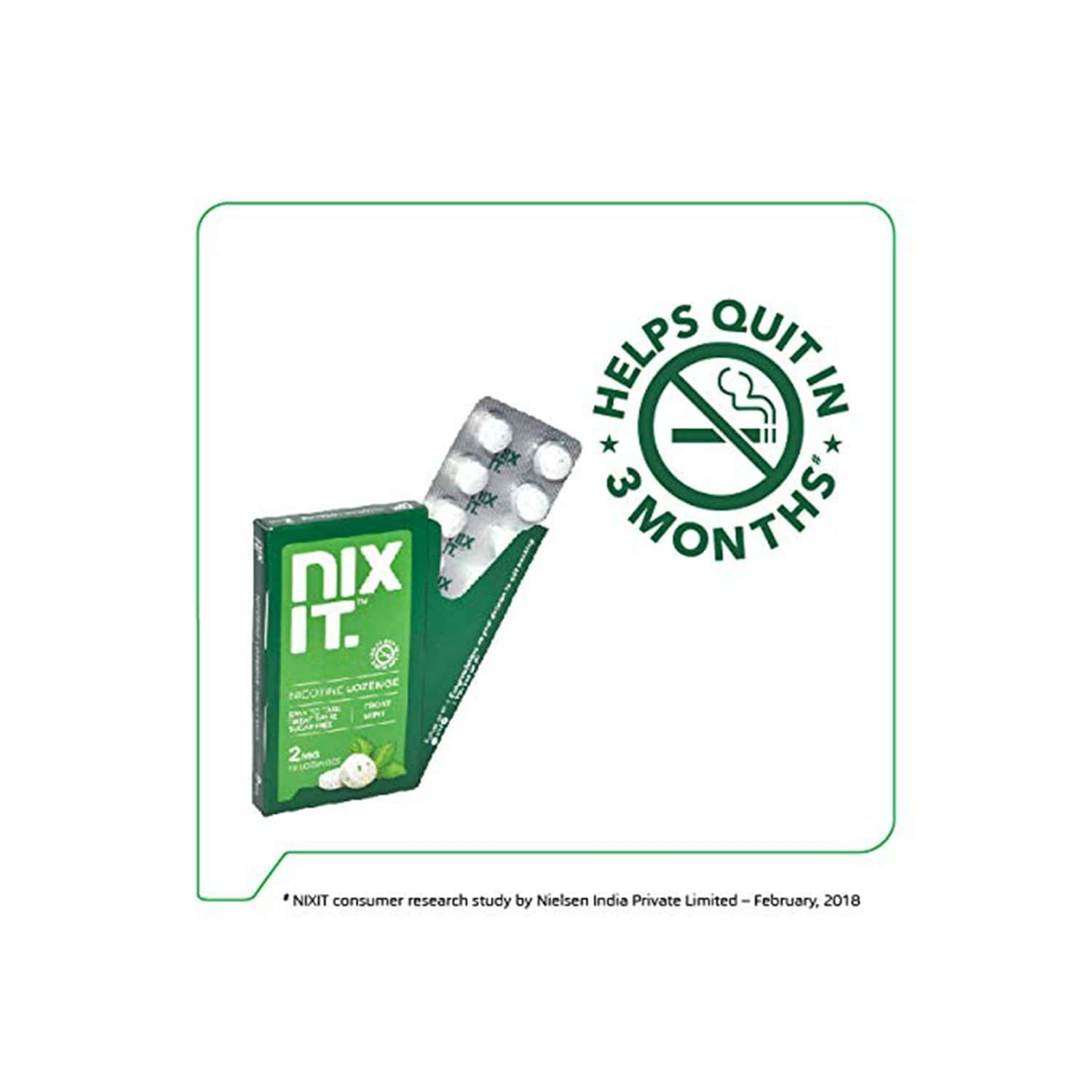 Nixit Nicotine Mint Lozenge 2mg (pack Of 40), Sugar Free - Helps Quit Smoking