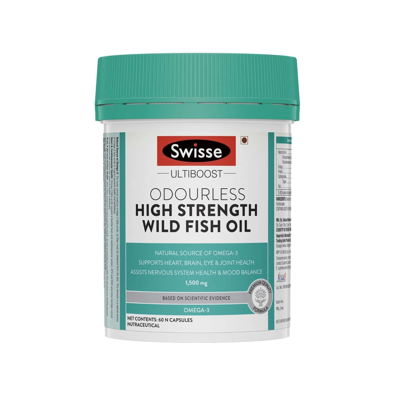 Swisse Ultiboost Odourless High Strength Wild Fish Oil With (1500 Mg) Omega 3 For Heart, Brain, Joints And Eyes - 90 Capsules