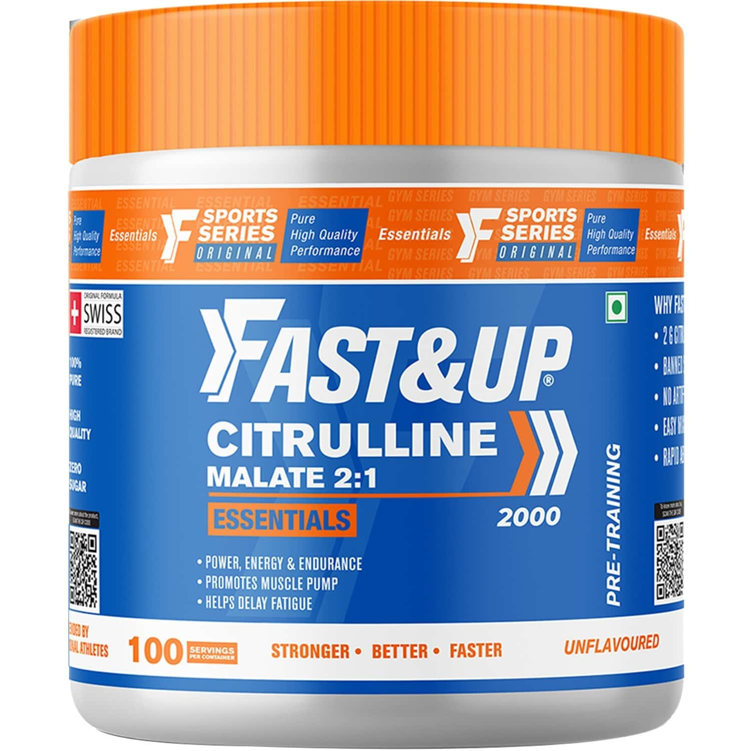 Fast&up Citrulline Malate Citrulline Essentials, Unflavoured, 2g Citrulline Malate (2:1), Muscle Pump, Enhanced Energy, Power & Strength, Pure, Banned Substance Free, No Booster, Zero Sugar, Easy Mixing 100 Servings