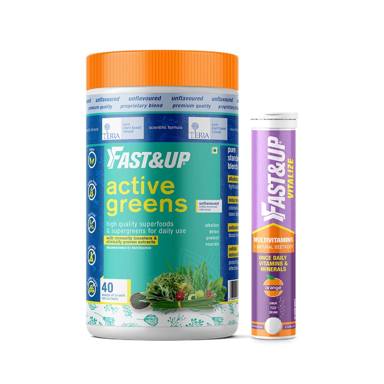 Fast&up Superfoods With Multivitamins - Active Greens 280g & Vitalize 20 Tablets