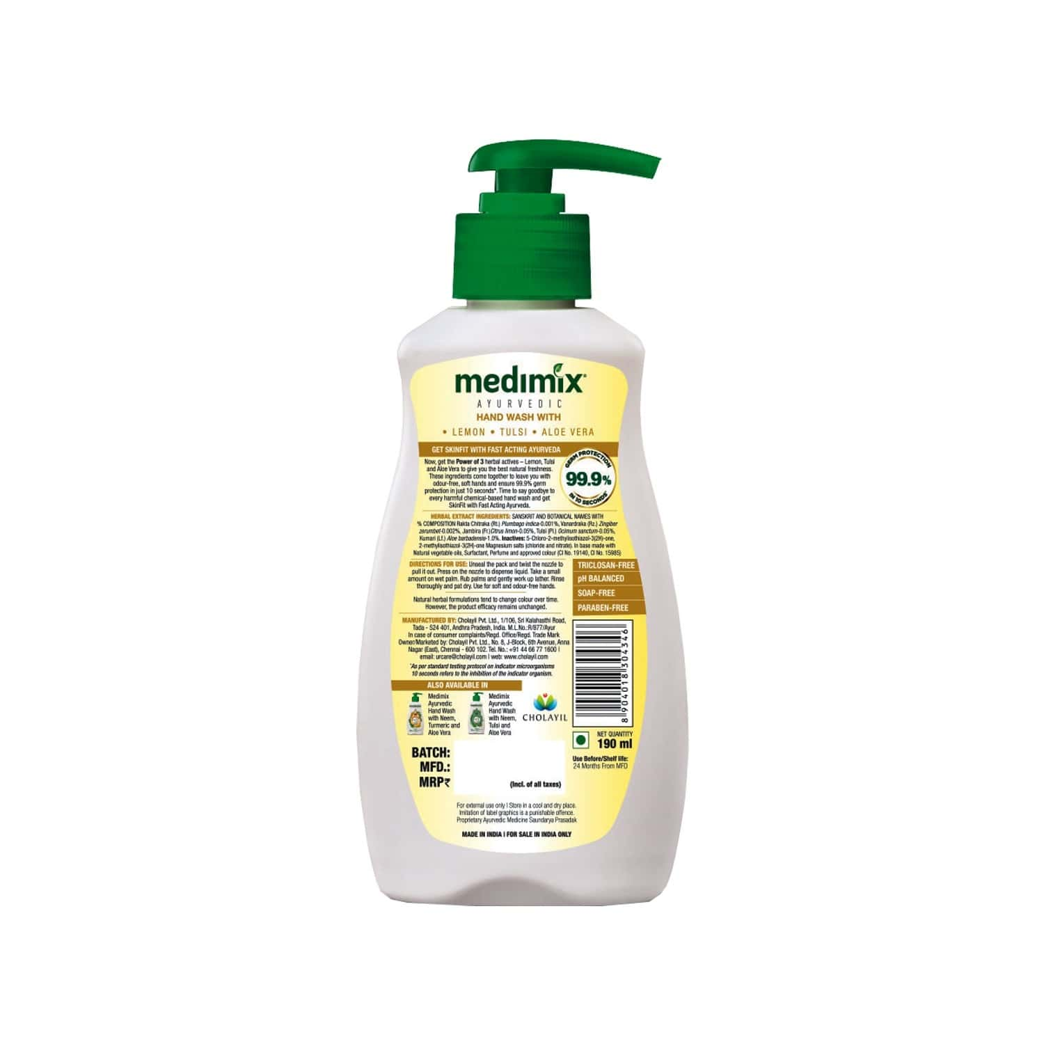 Medimix Ayurvedic Nature Fresh Hand Wash With Lemon, Tulsi, Aloe Vera Bottle - 190 Ml