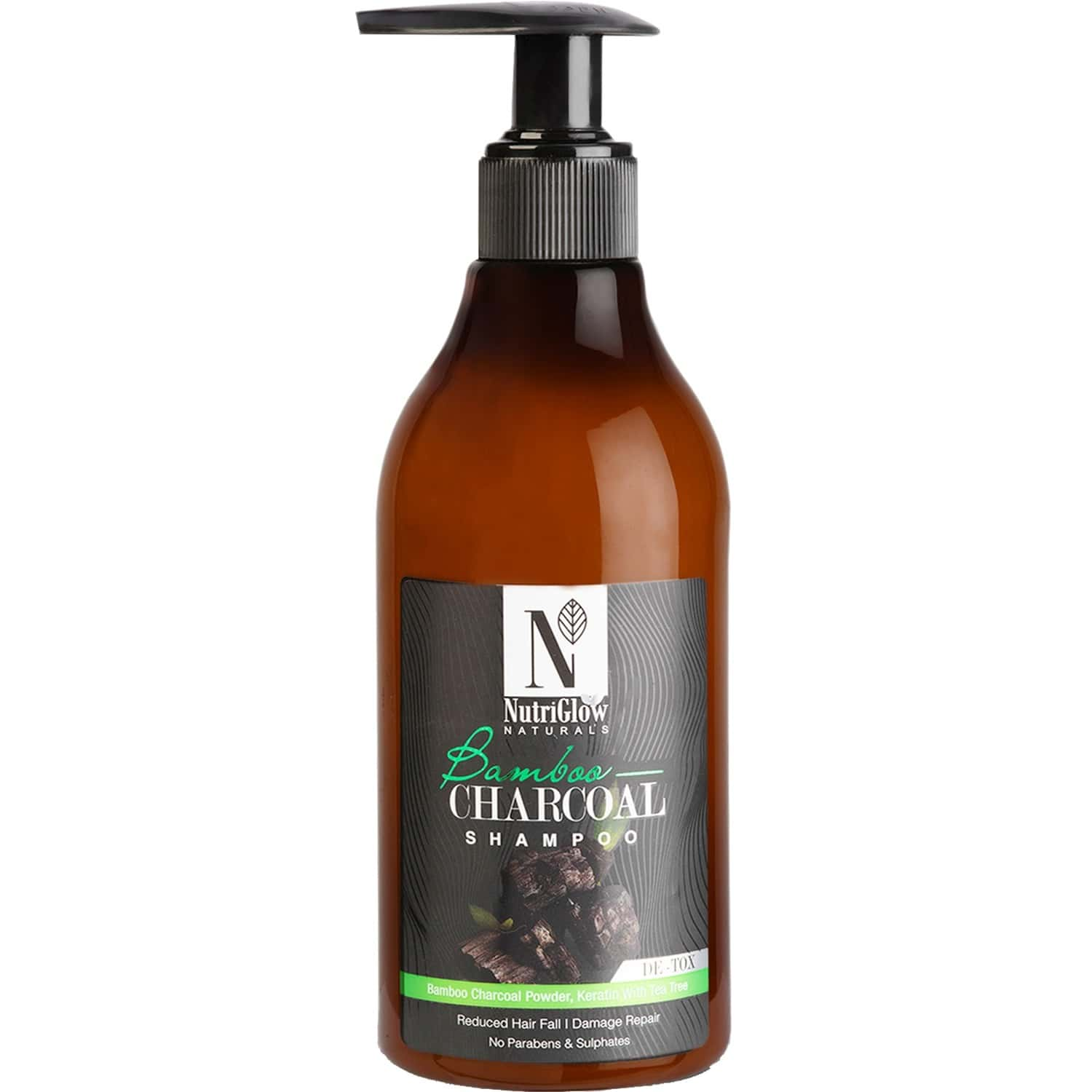 Nutriglow Natural's Bamboo Charcoal Shampoo /with Natural Source Ingredients/for Damaged Hair 300ml