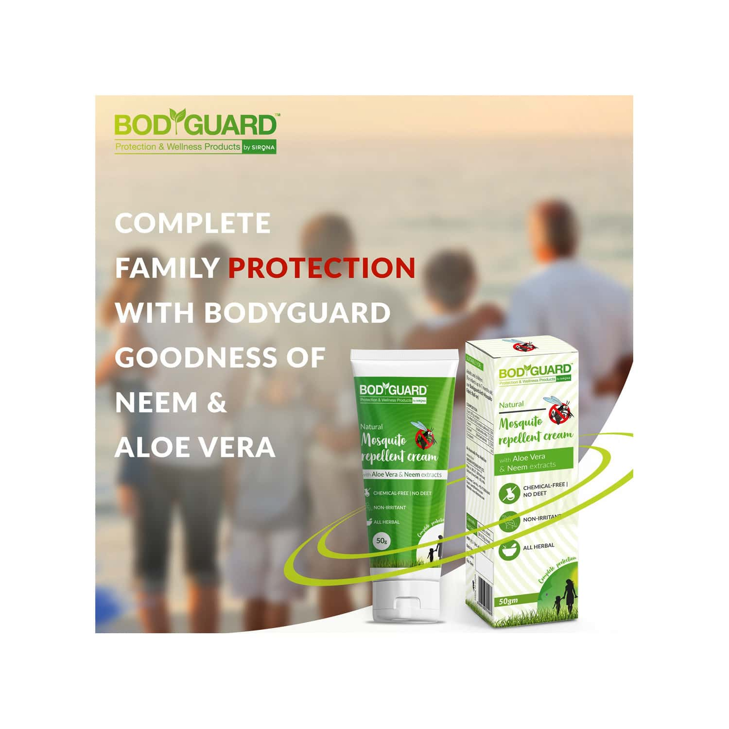 Bodyguard Natural Mosquito Repellent Cream With Aloe Vera And Neem Extracts - 50gm