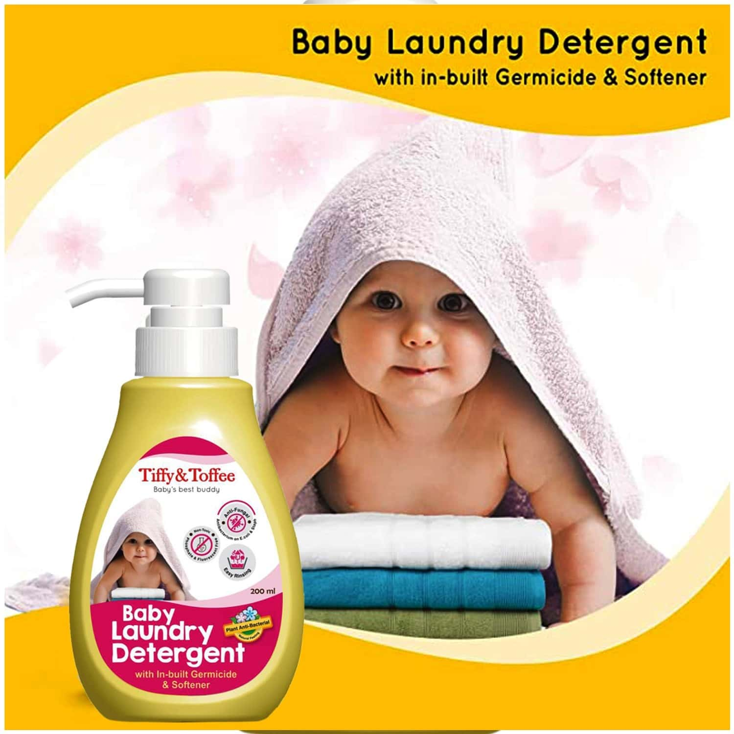 Tiffy & Toffee Baby Laundry Detergent With In-built Germicide And Softener - 200ml