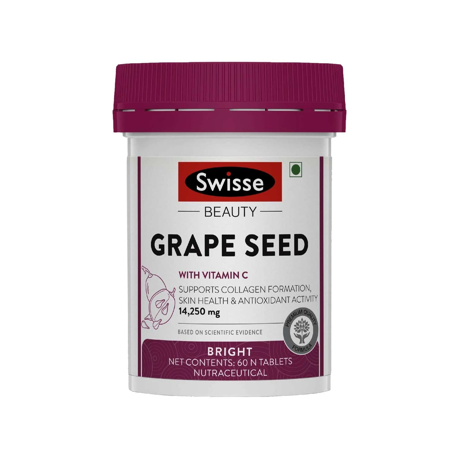 Swisse Ultiboost Grape Seed Supplement With Vitamin C For Healthy Skin - 60 Tablets