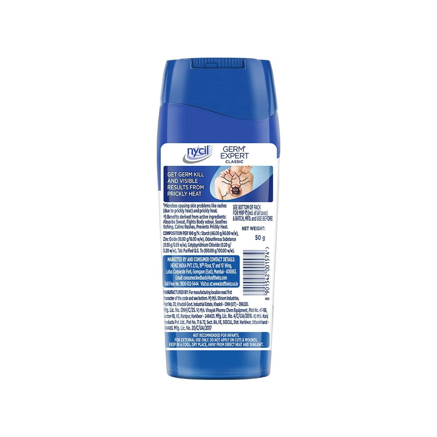 Nycil Classic Caring & Protection Prickly Heat Powder - 50gm