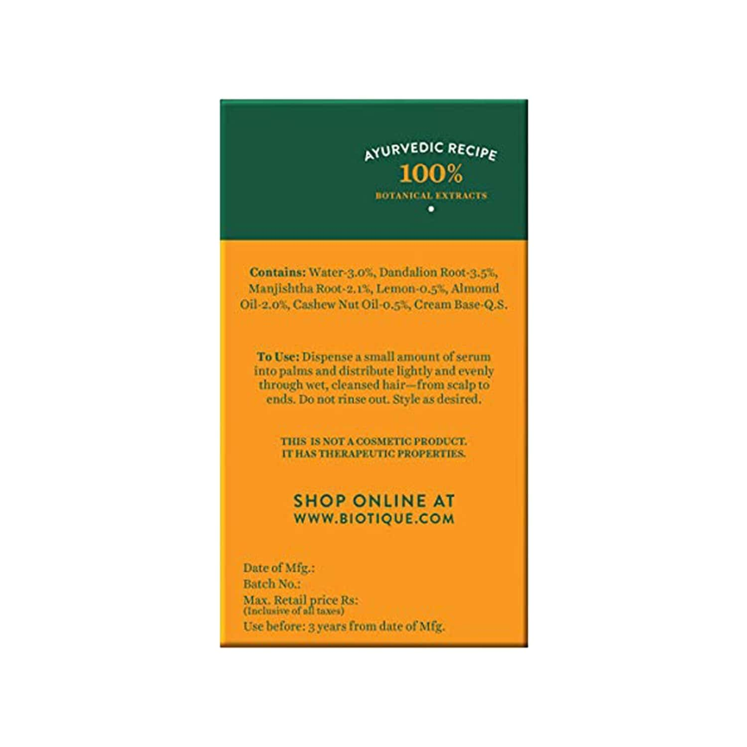 Biotique Bio Almond And Cashew Fresh Replenishing Serum For Colour-treated And Permed Hair - 120 Ml