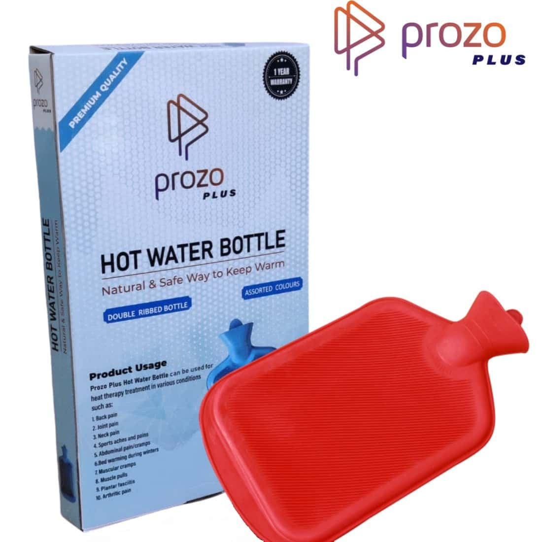 Prozo Plus Hot Water Bottle Double Side Ribbed (assorted Colours)
