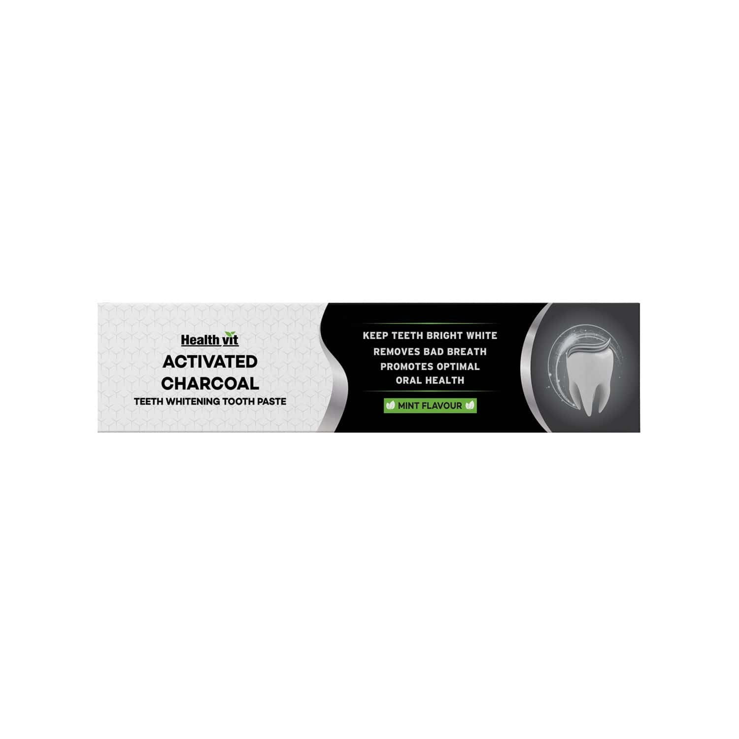 Healthvit Activated Charcoal Teeth Whitening Mint Toothpaste  Tube Of 100 G