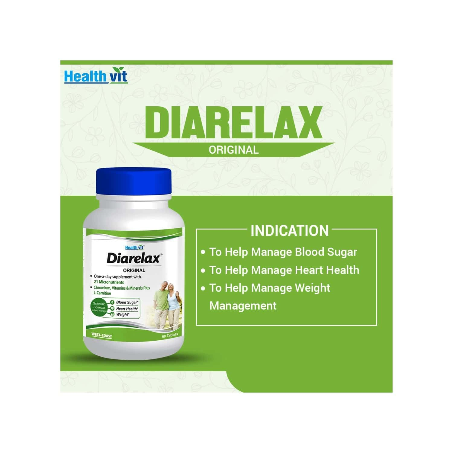 Healthvit Diarelax Diabetes Care Supplement Supports Healthy Blood Glucose Levels - 60 Tablets