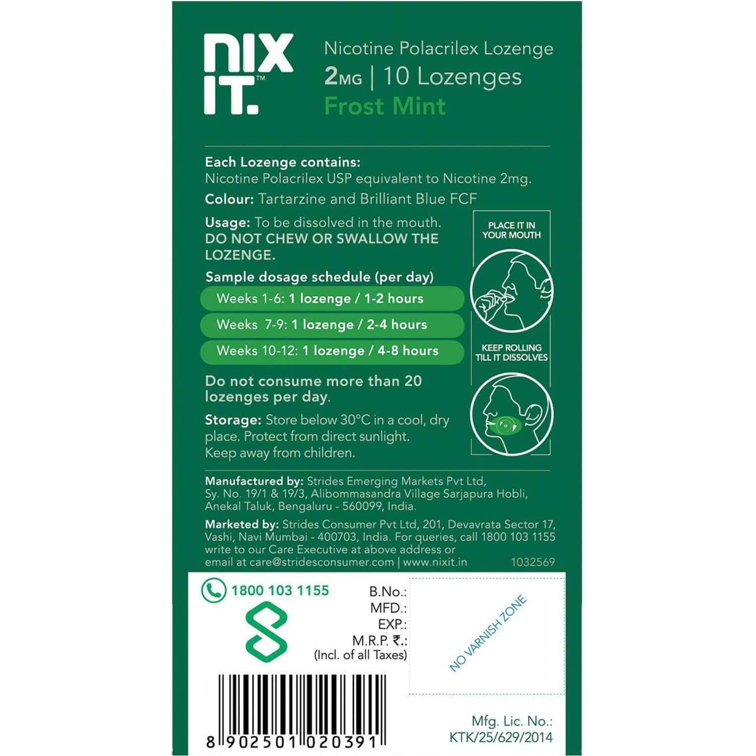 Nixit Nicotine Frost Mint Lozenges 2mg, Sugar Free (pack Of 3) - Helps Quit Smoking