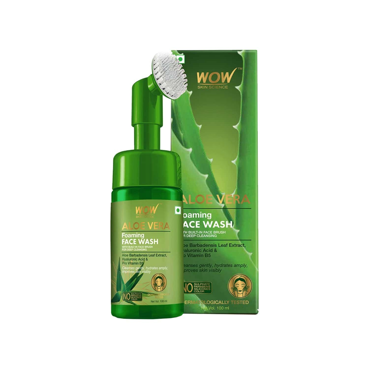 Wow Skin Science Aloe Vera Foaming Face Wash ( With Brush ) - 100ml