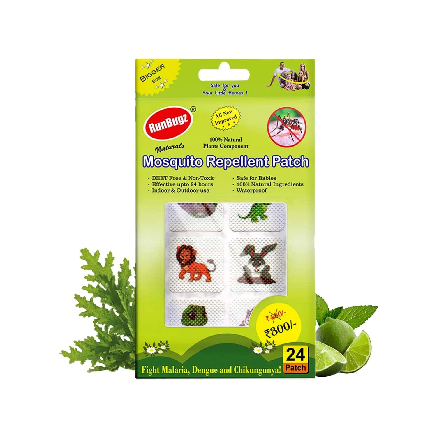 Runbugz Mosquito Repellent Cute Animal Patches For Babies, 24 Patches
