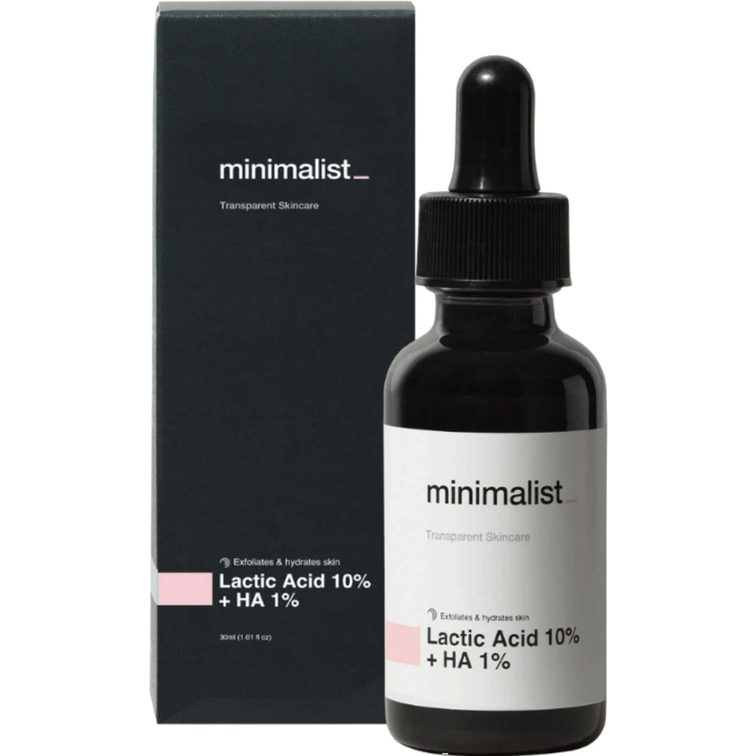 Minimalist Lactic Acid 10% Exfoliant For Acne Scars, Even Tone & Texture With Hyaluronic Acid (30ml)