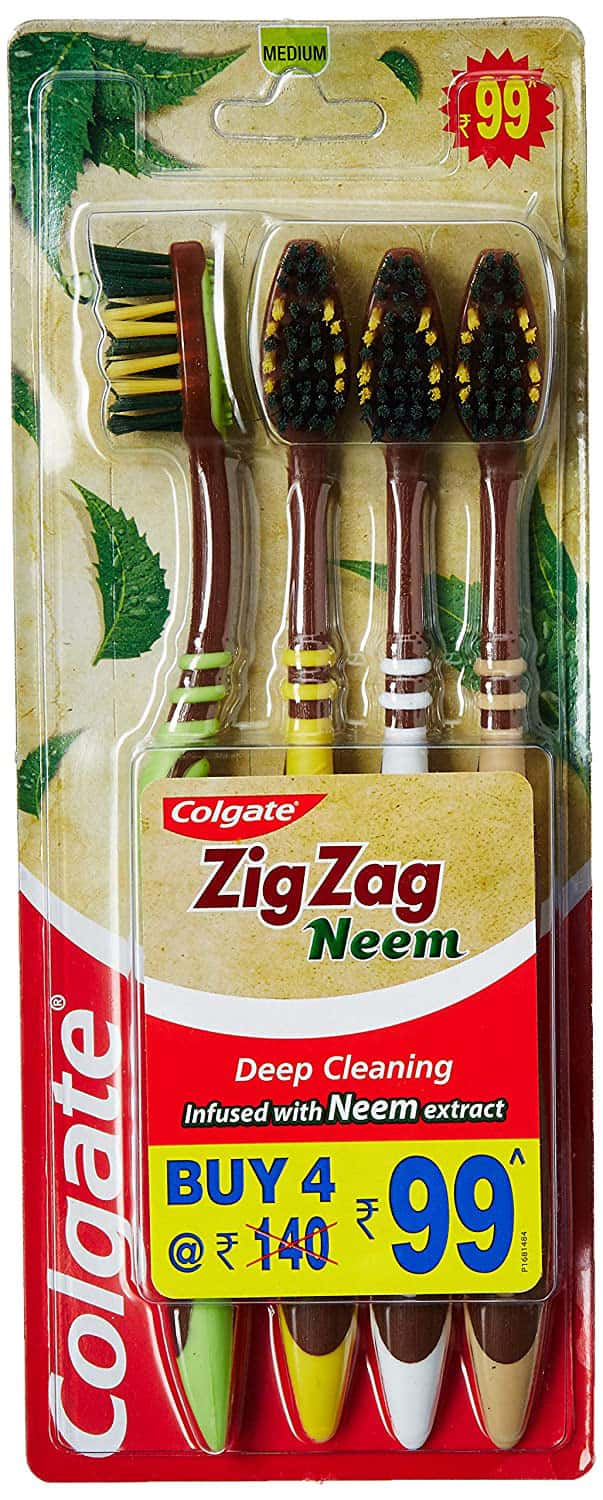 Colgate Zigzag Neem Toothbrush Packet Of 4 (medium)